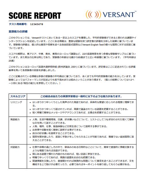 Versant スコアレポート3