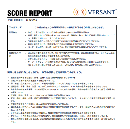 Versant スコアレポート4